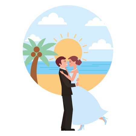 married couple dancing in beach isolated icon vector illustration design 向量圖像