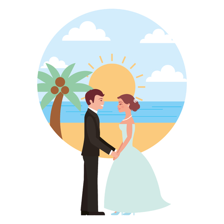 married couple in beach isolated icon vector illustration design Banque d'images - 104523996