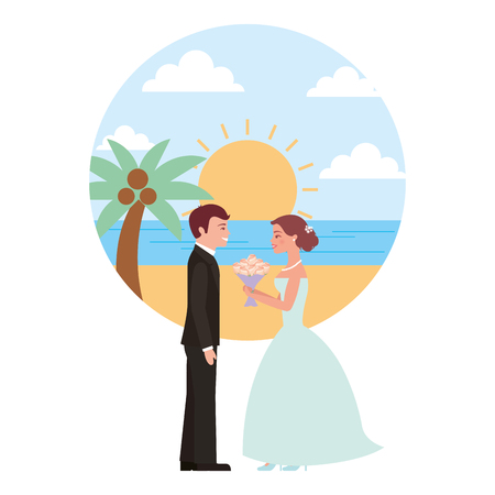 married couple in beach with bouquet of flowers vector illustration design Banque d'images - 104524000