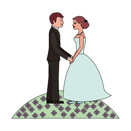 married couple in garden avatar character vector illustration design Illustration