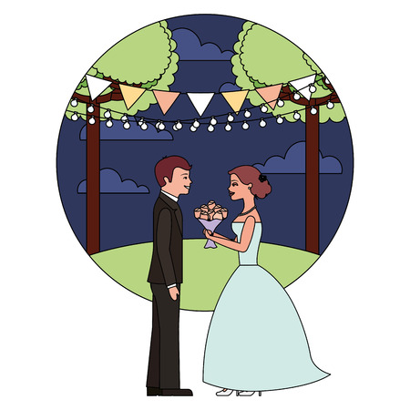married couple in night landscape with bouquet of flowers vector illustration design