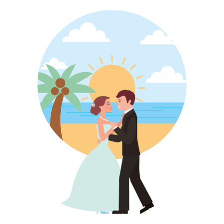 married couple dancing in beach isolated icon vector illustration design Banque d'images - 104524231
