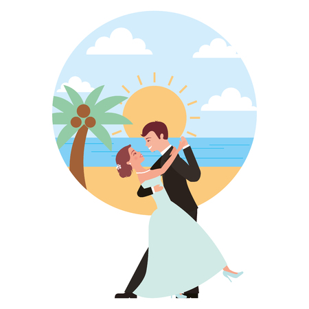 married couple dancing in beach isolated icon vector illustration design  イラスト・ベクター素材