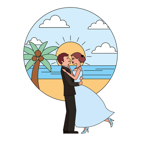 married couple dancing in beach isolated icon vector illustration design