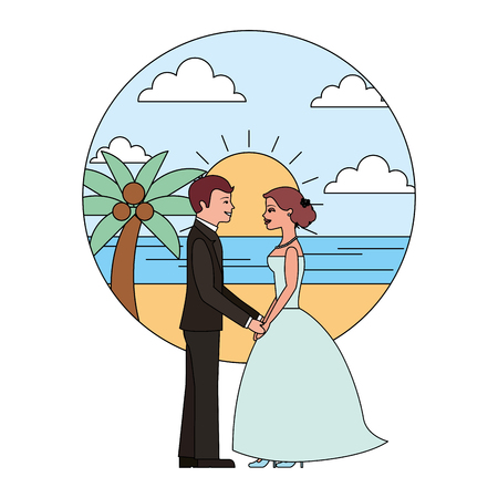 married couple in beach isolated icon vector illustration design Ilustrace