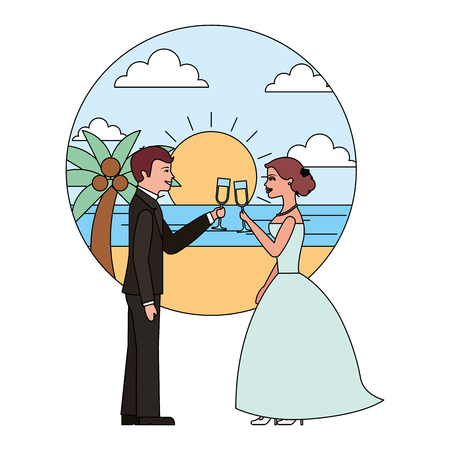 married couple in beach with cups celebrating avatar character vector illustration design