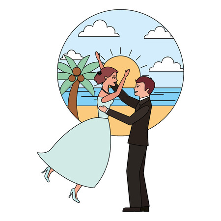 married couple celebrating in beach avatar character vector illustration design Banque d'images - 104524238