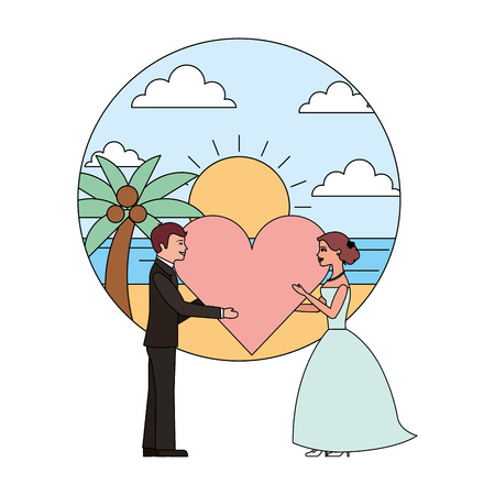 married couple in beach with heart avatar character vector illustration design