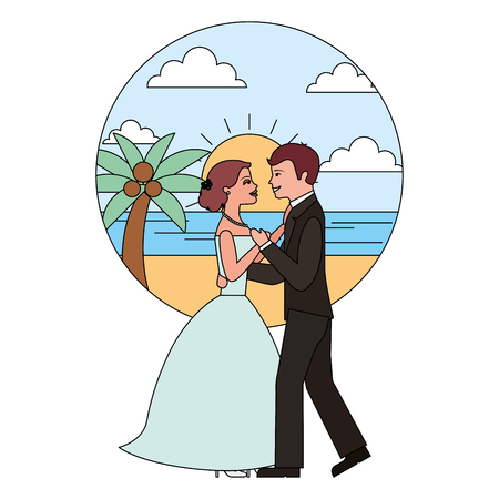 married couple dancing in beach isolated icon vector illustration design Banque d'images - 104524242