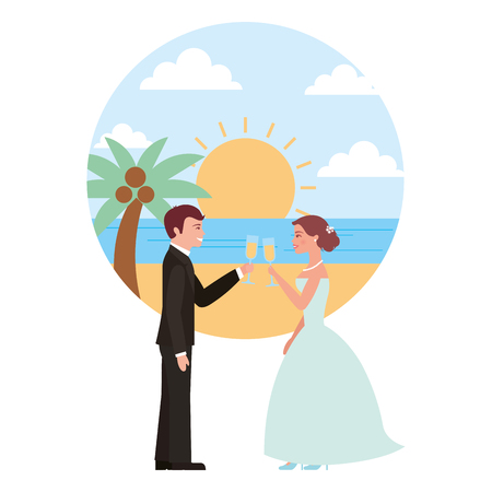 married couple in beach with cups celebrating avatar character vector illustration design Фото со стока - 104524246
