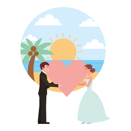 married couple in beach with heart avatar character vector illustration design Banque d'images - 104524245