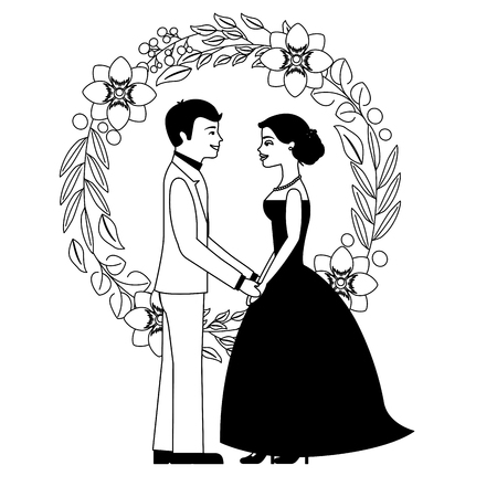 bride and groom holding hands in wreath flowers vector illustration Illustration