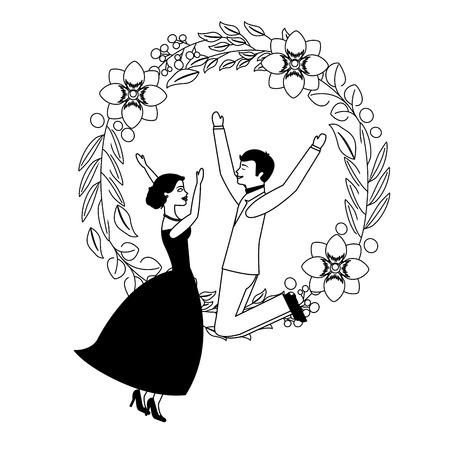 couple wedding day celebrating in wreath flower vector illustration
