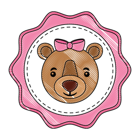 cute bear girl with bow decoration label vector illustration