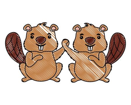 Cute couple animal rongeur castor vector illustration Vecteurs