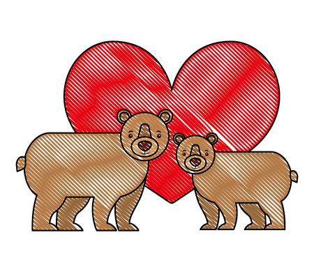 cute couple grizzly bear in love heart vector illustration