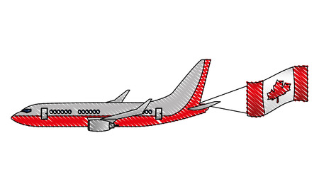 airplane flying with canadian flag vector illustration