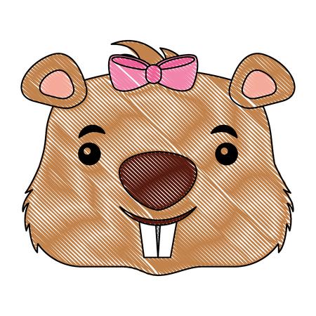 cute girl beaver funny animal vector illustration
