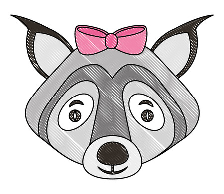 beautiful cute wolf with bow vector illustration