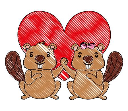 cute couple beaver animal in love heart vector illustration