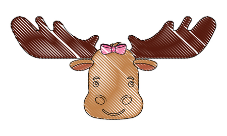 cute beautiful female moose with bow vector illustration Illustration