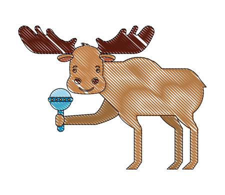 ładny samiec łosia z grzechotką ilustracji wektorowych zabawki