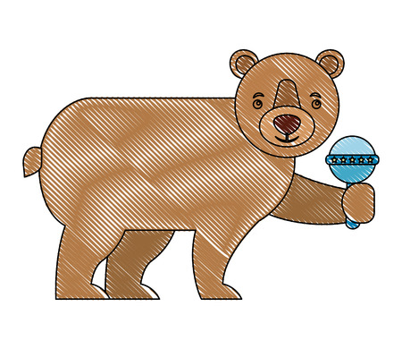 brown grizzly bear holding rattle toy vector illustration