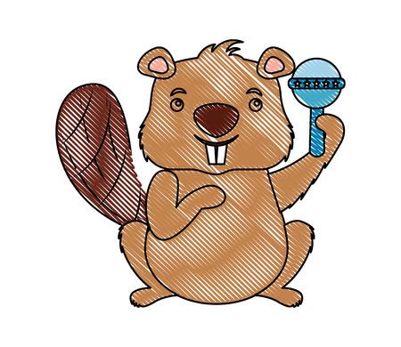 cute beaver funny rattle toy vector illustration Иллюстрация