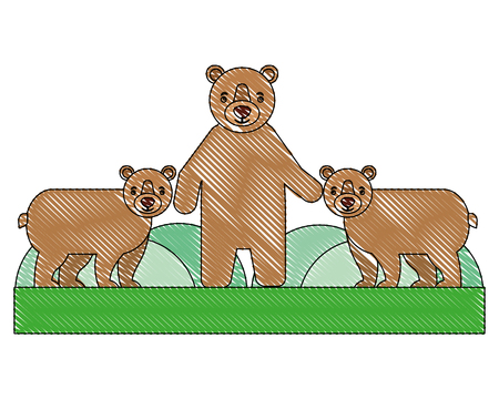 cute family grizzly bears in forest vector illustration