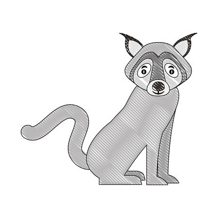 gray wolf sitting animal wildlife vector illustration