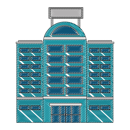 hotel building facade billboard in roof vector illustration