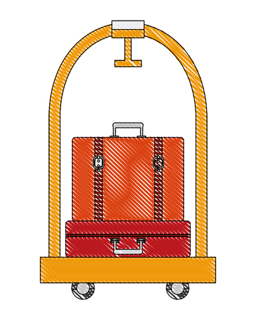 hotel luggage trolley and suitcases old fashion vector illustration