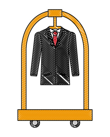 hotel luggage trolley with hanging suit vector illustration Banco de Imagens - 114995048