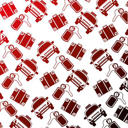 hotel service travel taxi suitcase key background vector illustration neon design Çizim