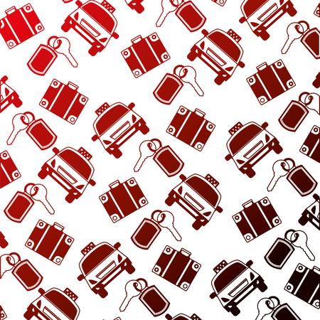 hotel service travel taxi suitcase key background vector illustration neon design Illustration