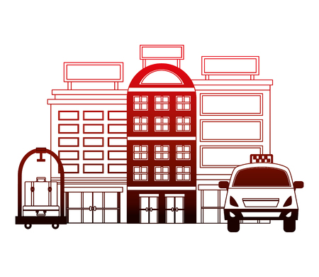 accommodation building luxury hotel taxi luggage trolley vector illustration neon design