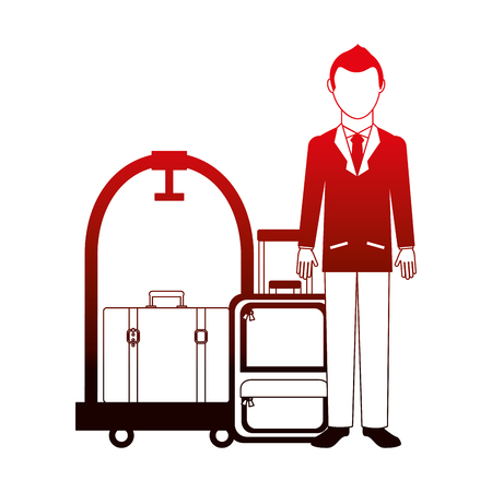 man traveler suitcases and hotel luggage trolley vector illustration neon design Banco de Imagens - 104524256