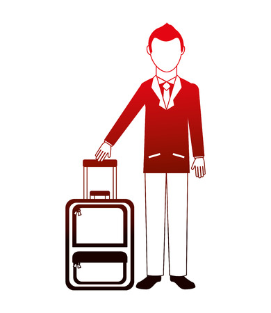 businessman with suitcase equipment travel vector illustration neon design Illustration