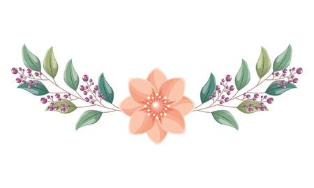 beautiful arrangement flower berries leaves floral vector illustration
