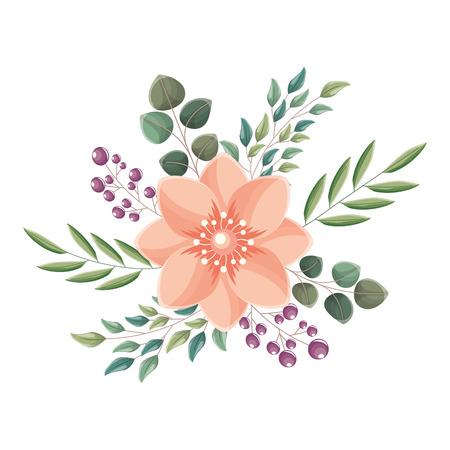 bella disposizione bacche di fiori foglie illustrazione vettoriale floreale
