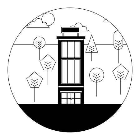 hotel building natural trees landscape vector illustration black and white