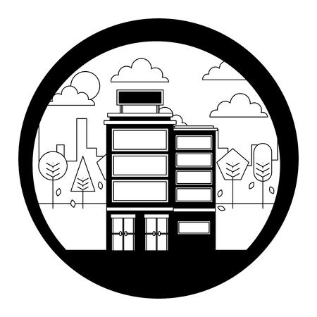 hotel building urban trees scene vector illustration black and white Illustration