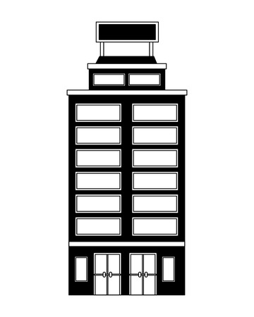 hotel building accomodation tourism travel vector illustration black and white