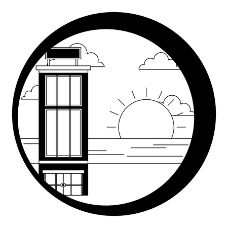 hotel building natural beach sunset landscape vector illustration black and white Illustration