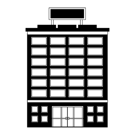 hotel building accomodation tourism travel vector illustration black and white Stock Vector - 114995095