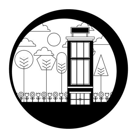 hotel building natural trees landscape vector illustration black and white