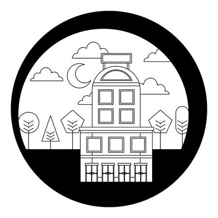 hotel building trees moon night scene vector illustration black and white