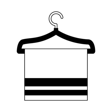 towel on hanger toilet image desing vector illustration black and white Illustration