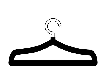 clothes hanger metal empty vector illustration black and white Ilustracja