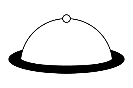 food cover tray restaurant service vector illustration black and white Vektorgrafik